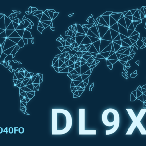 Modernes QSL-Karten Design mit blauer Landkarte