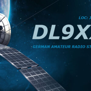 QSL-Karten Design mit Satellit im Hintergrund