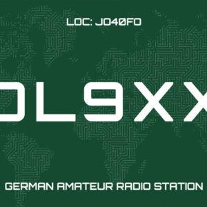 QSL-Karten Vorlage mit Deutschlands Silhouetten und Schaltkreis Muster